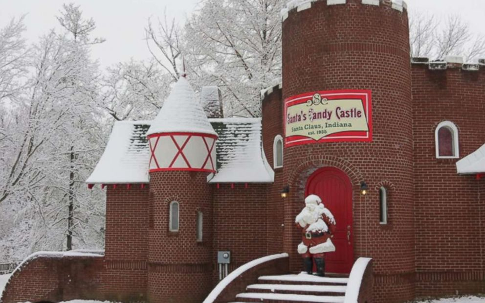 PHOTO: A Santa Claus statue stands outside Santas Candy Castle in Santa Claus, Ind.