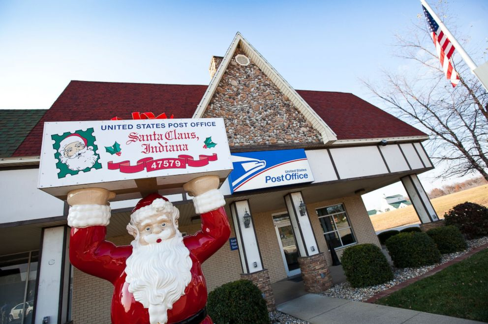 PHOTO: The post office in Santa Claus, Ind., features of statue of Santa Claus.