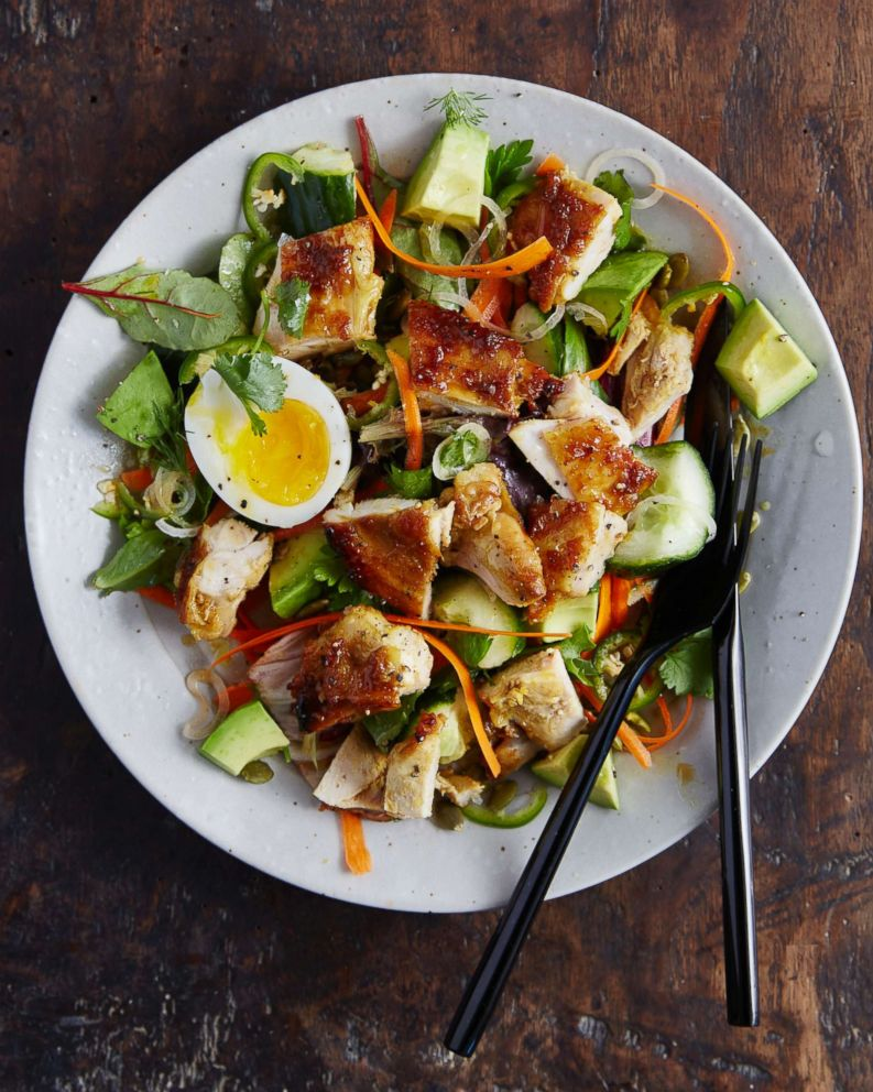 PHOTO: Chef Seamus Mullen shares a recipe for tamari-glazed chicken salad with avocado, pepitas, and hard-boiled eggs.