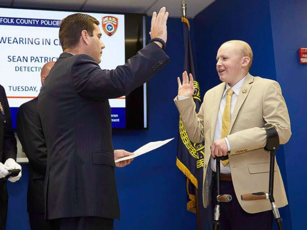 PHOTO: Sean Dixon, 16, of Medford, New York, was sworn in as a Suffolk County police detective on Aug. 1, 2017.