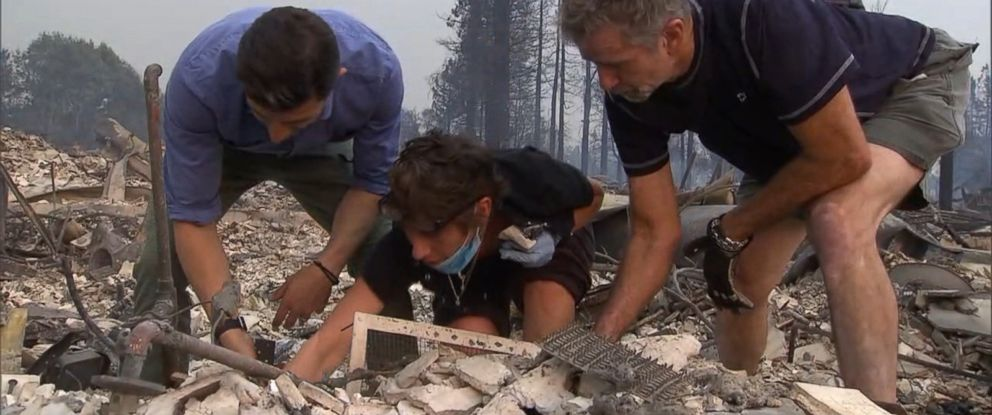 PHOTO: ABC News Matt Gutman helped Kris Pond and her husband search through the embers and debris of her home after the wildfires destroyed everything.