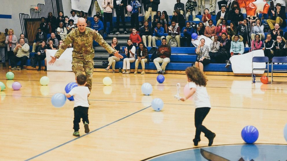Army Specialist Seth Howard surprised his twins, Riley and Liam Howard at their school, Gahanna Christian Academy.