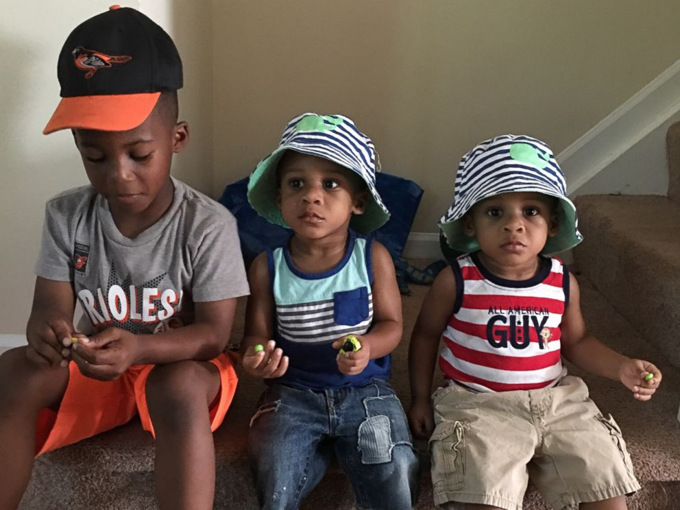 PHOTO: Shai Tolbert, 6, with his little brothers, 2-year-old twins Riley and Alexander.