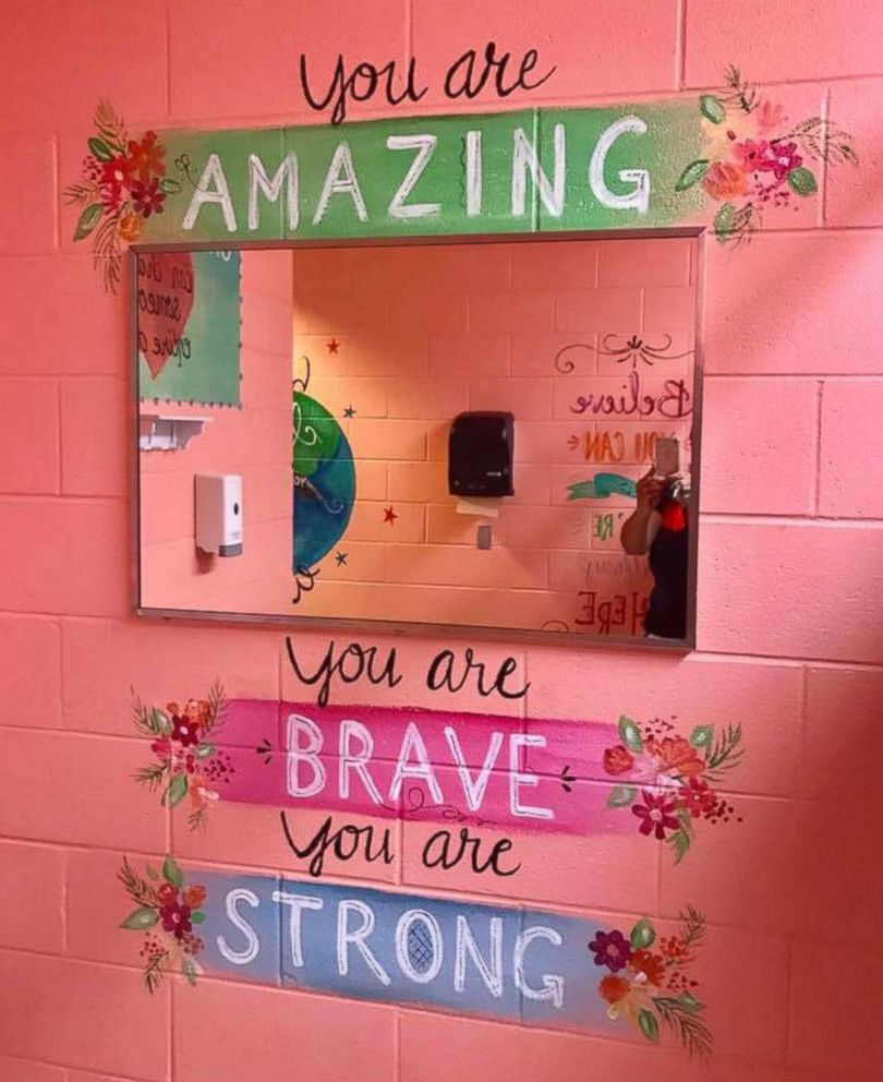 PHOTO: Shari Jackson Link of Fayetteville, N.C., painted positive messages in the girls bathrooms at Fayetteville Academy to inspire them to be nice.