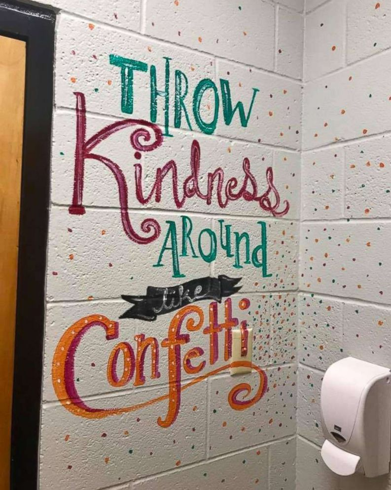 """Shari Jackson Link of Fayetteville, N.C., painted positive messages in the girls' bathrooms at Fayetteville Academy to """"inspire them to be nice."""""""