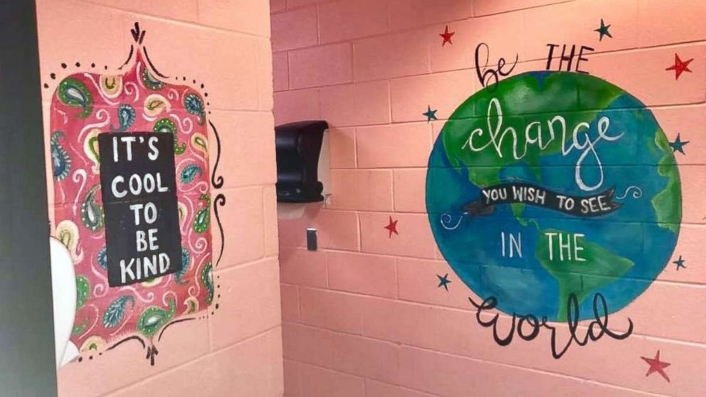 Really cool bathrooms for girls Teenage Girl Shari Jackson Link Of Fayetteville Nc Painted Positive Messages In The Girls Bathrooms Abc News Woman Paints Motivational Messages In Middle School Girls Bathrooms