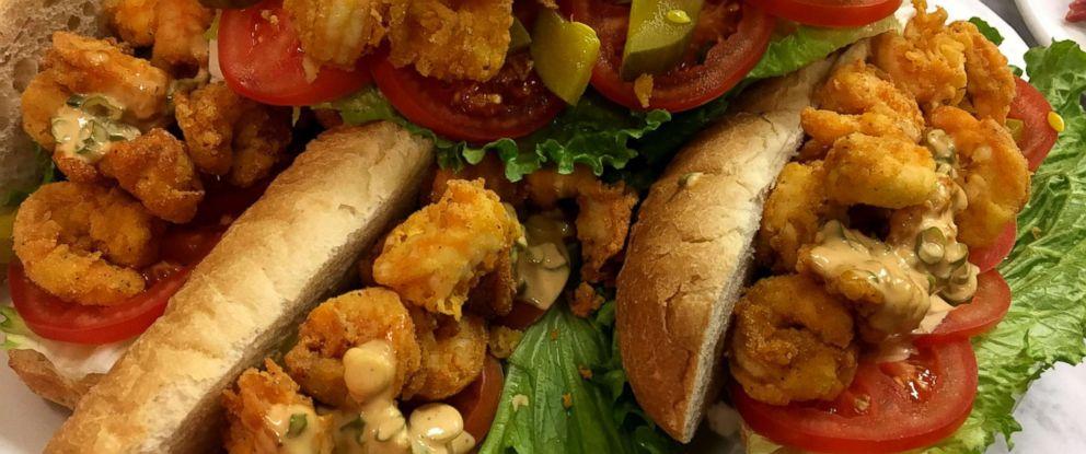 PHOTO: Blue Smoke executive chef Jean-Paul Bourgeois shares his recipe for shrimp po boy sandwiches.