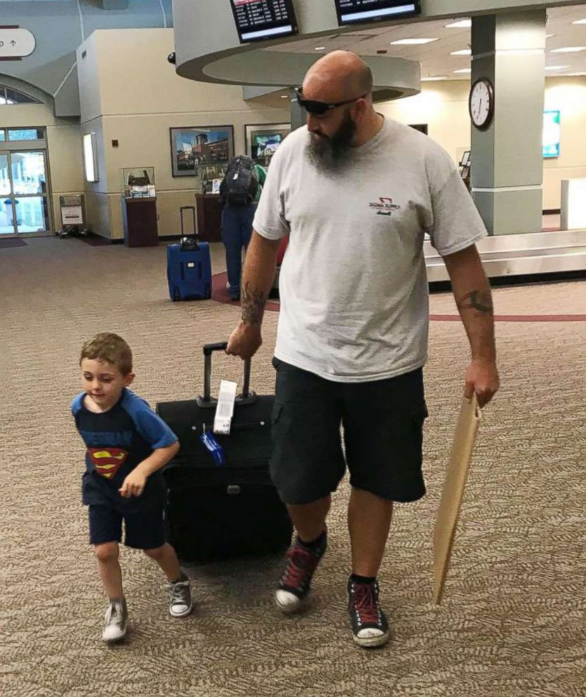 PHOTO:Barbara Nielsen of Muldrow, Okla., had returned from a business in Michigan when her son Damien and husband Brandon met her at the airport.