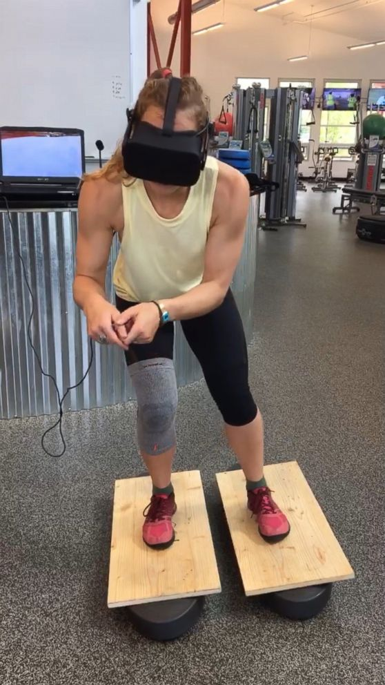 PHOTO: Olympic Alpine ski racer Laurenne Ross used virtual reality technology during her recovery from a knee injury.