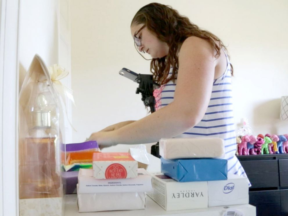 PHOTO: Kaelin Brady cuts up bars of soap for her thousands of Instagram followers from her home in Frederick, Maryland.