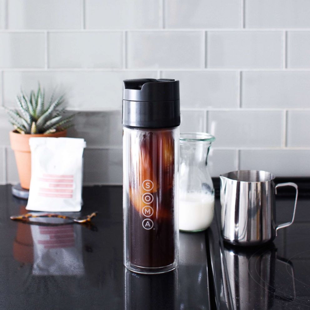 PHOTO: The new Soma Brew Bottle is made of double wall glass and a stainless steel filter for pour over, iced coffee and tea.