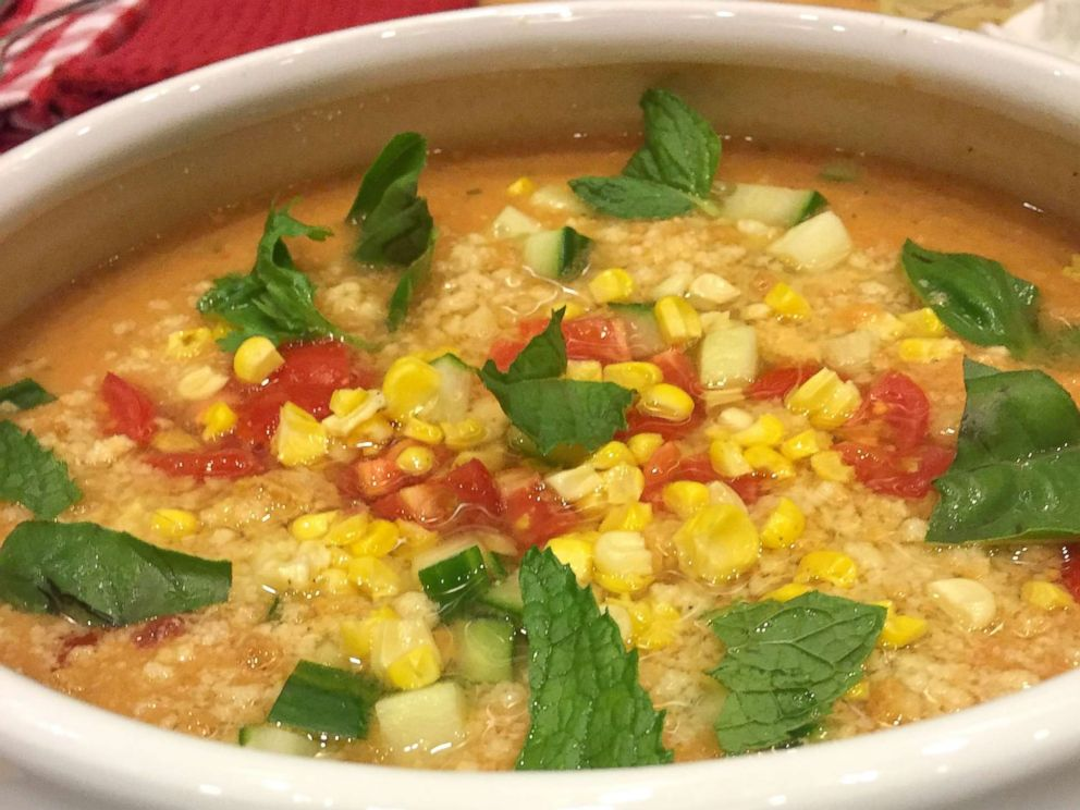 PHOTO: Celebrity chef Marcus Samuelsson shared his recipe for corn tomato gazpacho soup.