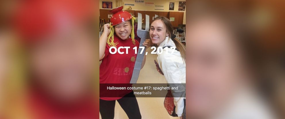 PHOTO: Molly Foote dressed as spaghetti and meatballs posing with her friend on Oct. 17, 2017.