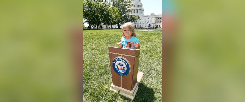 PHOTO: A toddler steps up to the podium on the East lawn of the U.S. Capitol Building during Zero To Threes second annual Strolling Thunder event to urge Congress to Think Babies and make the potential of every baby a national priority, May 8, 2018.