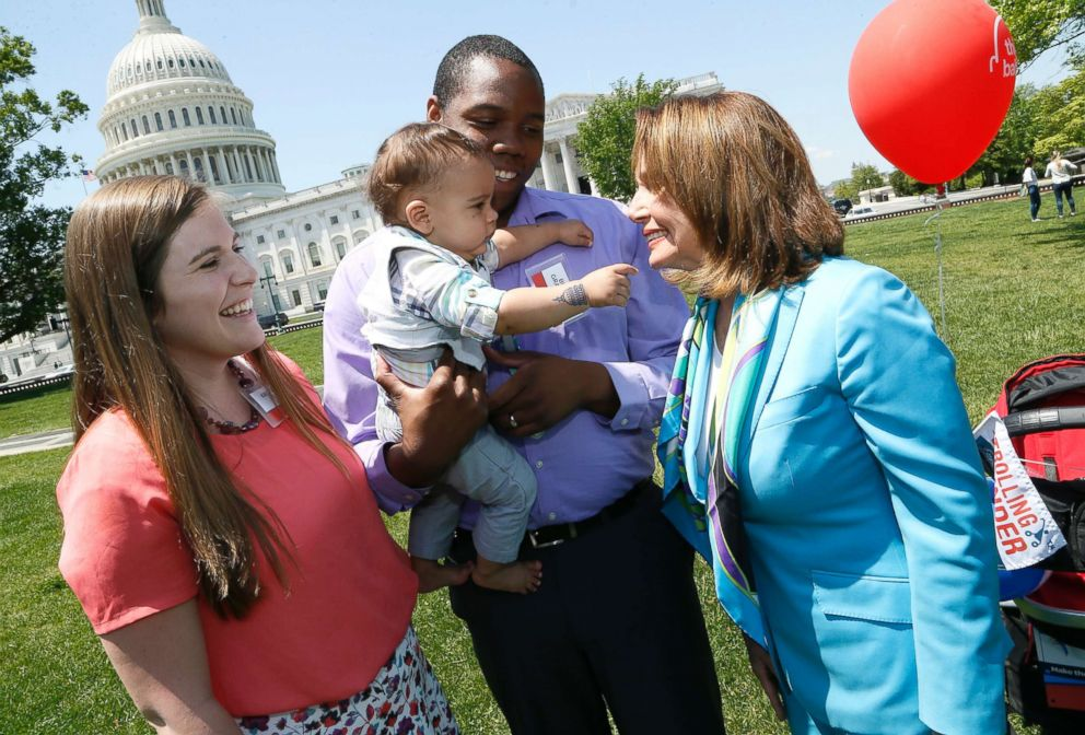 PHOTO: House Minority Leader Nancy Pelosi, right, joins the Gray family from Utah at Zero To Threes second annual Strolling Thunder rally on the East lawn of the U.S. Capitol Building, May 8, 2018.