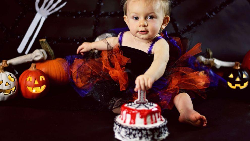 Superb Baby Celebrates 1St Birthday With Creepy Halloween Cake Smash Personalised Birthday Cards Epsylily Jamesorg