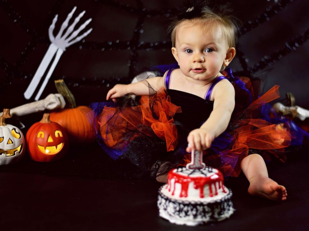 Baby Celebrates 1st Birthday With Creepy Halloween Cake Smash