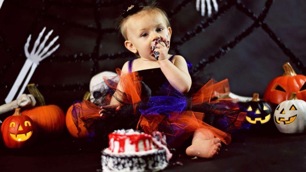 Brilliant Baby Celebrates 1St Birthday With Creepy Halloween Cake Smash Personalised Birthday Cards Epsylily Jamesorg