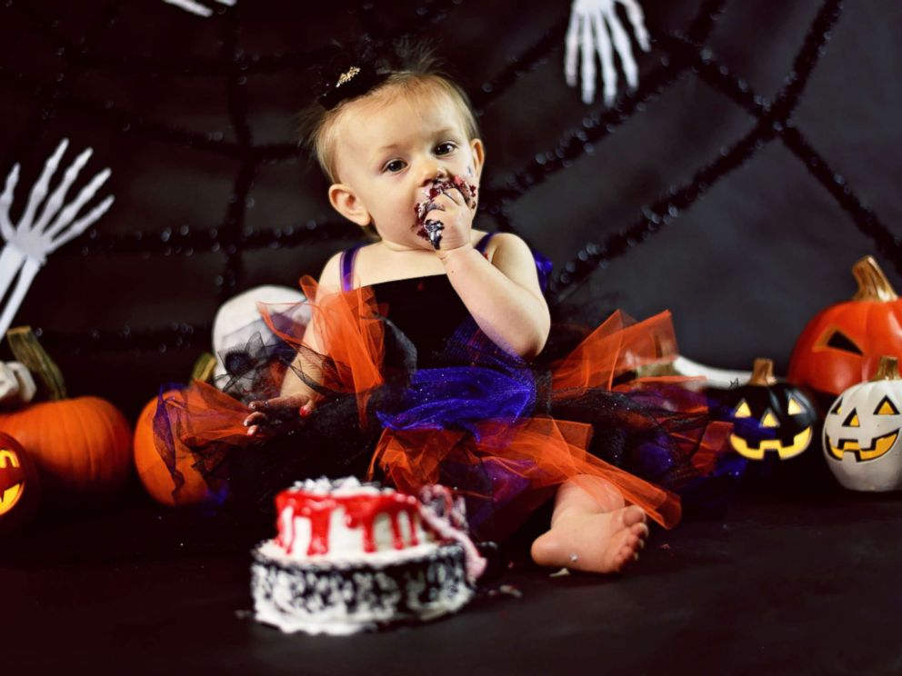 Baby Celebrates 1st Birthday With Creepy Halloween Cake Smash