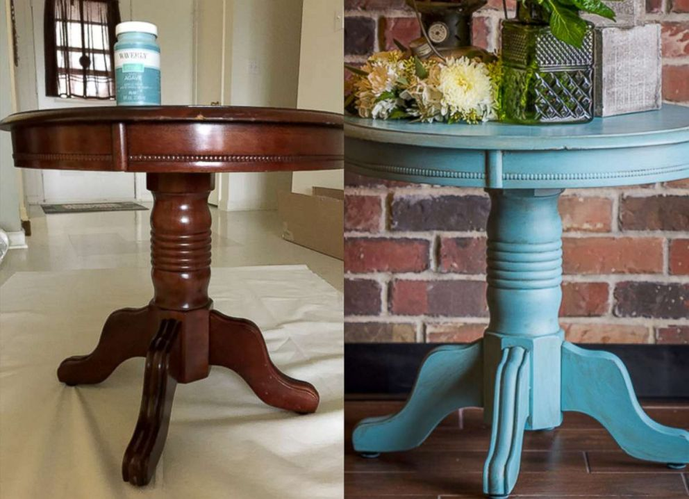 PHOTO: Maria Reed transformed a table from drab to fab for a DIY project by painting it with a pop of color.