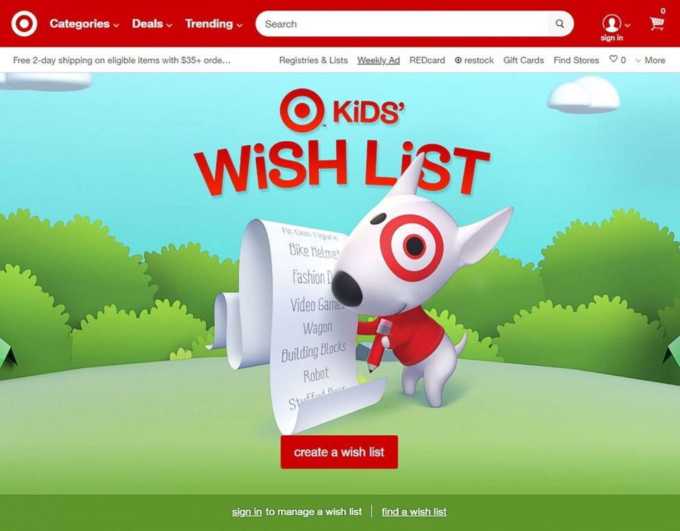PHOTO: Target offers kids wish list for holidays, birthdays or other special occasions.