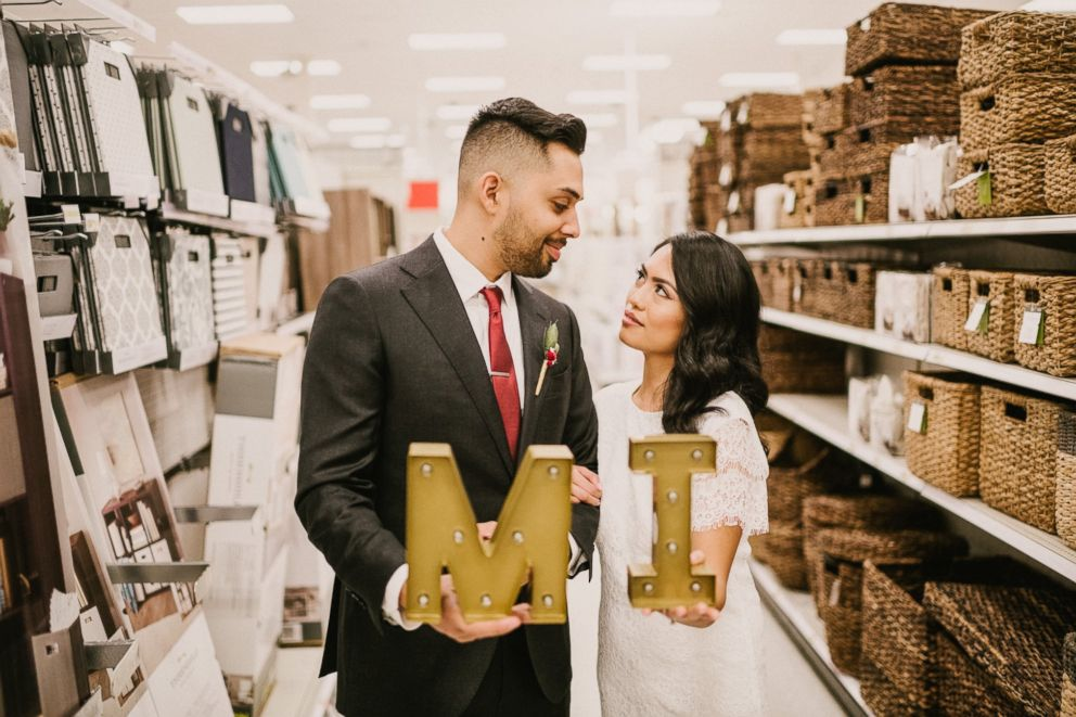 PHOTO: Michael Delvalle and Isabella Sablan, who wed Jan. 26, 2018, took their wedding photos inside a North Miami, Florida-area Target.