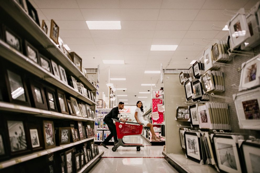PHOTO: Michael Delvalle and Isabella Sablan, who wed Jan. 26, 2018, love Target so much they took their wedding photos inside the store.
