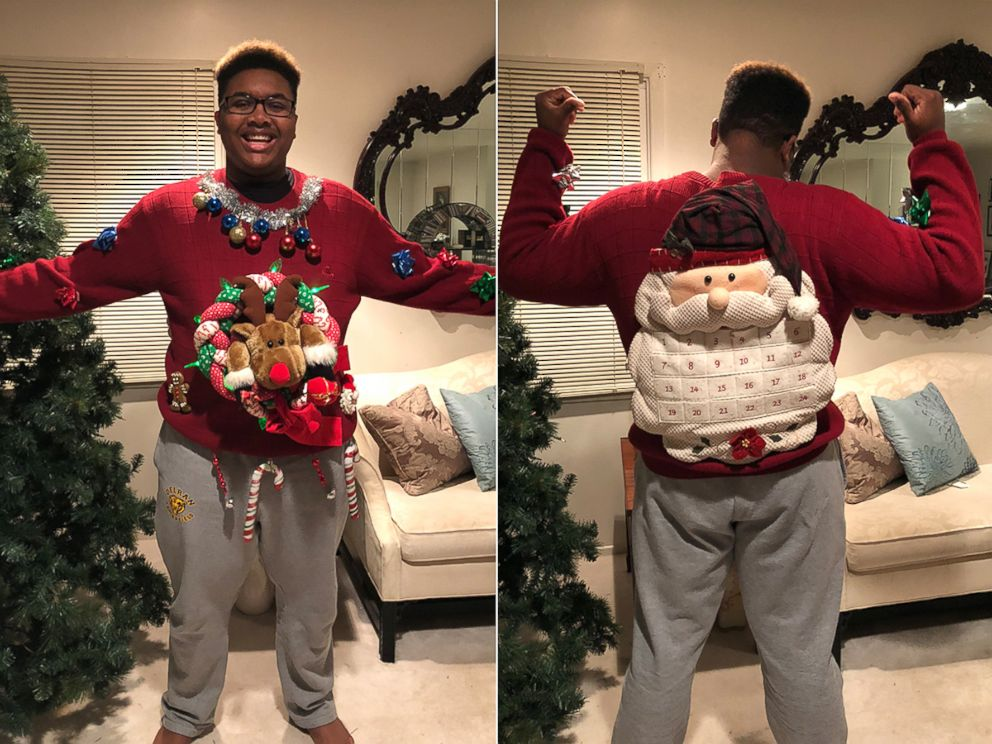 PHOTO: Tati White of Delran, N.J., said hes been rocking this ugly Christmas sweater since his mom made it for him in the 8th grade.