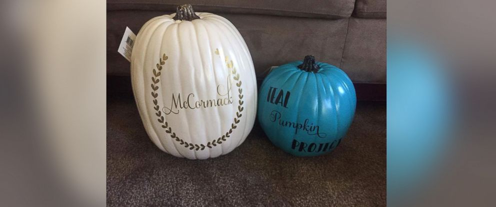 PHOTO: One familys handmade teal pumpkin that they will display on Halloween to show their participation in the Teal Pumpkin Project that hands out non-food treats for kids with food allergies.
