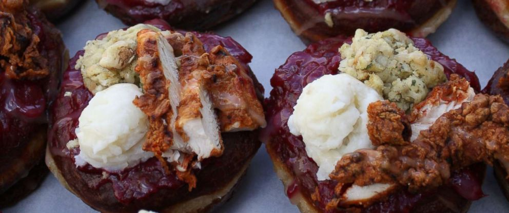 PHOTO: The donut features cranberry glaze, fried chicken, mashed potatoes, gravy and stuffing.
