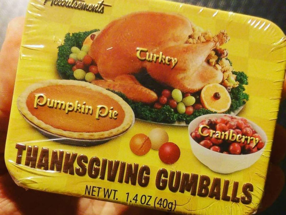 PHOTO: Thanksgiving gumballs in a variety pack tin.