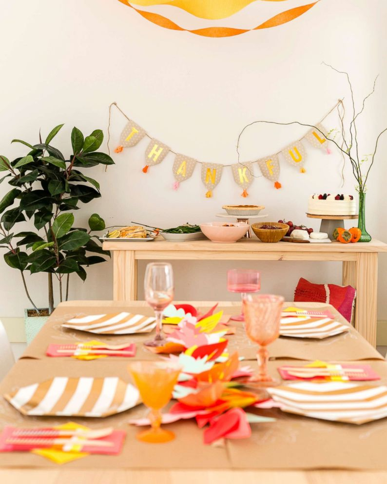 PHOTO: Brit + Co founder Brit Morin shows you how to throw Thanksgiving dinner with fun decor for under $75.