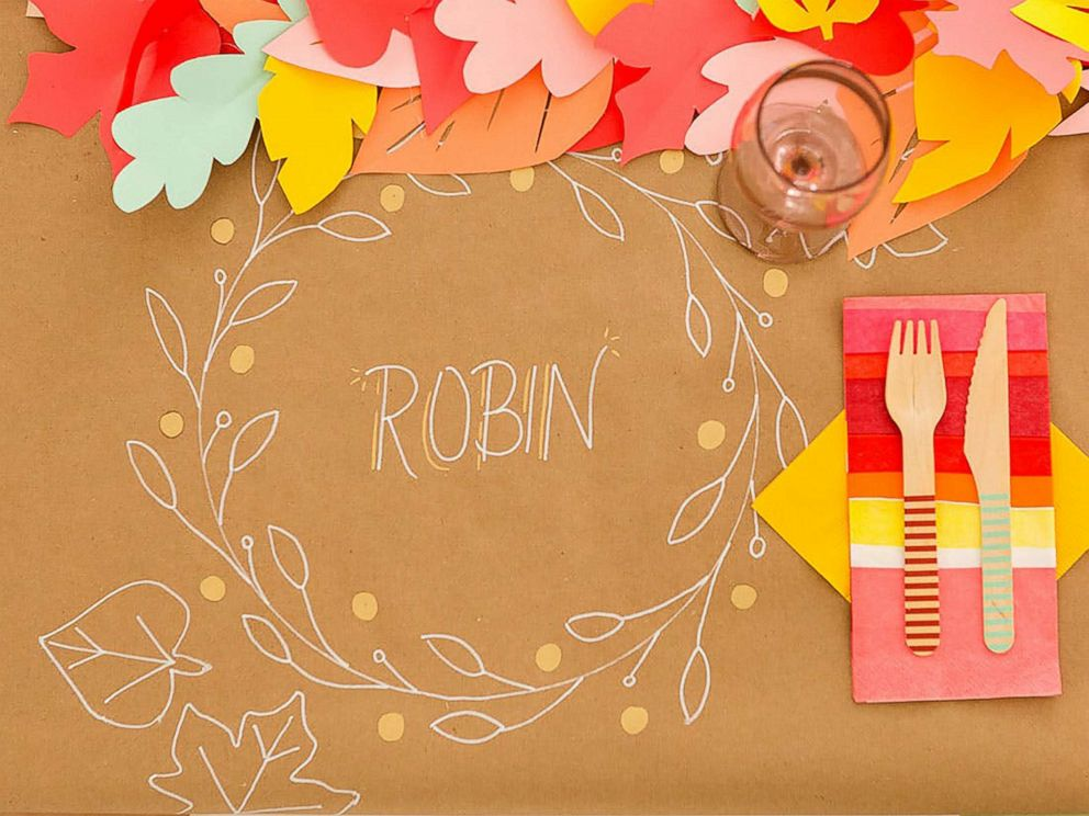 PHOTO: Create custom placemats for your Thanksgiving table with inexpensive brown paper from your local craft store