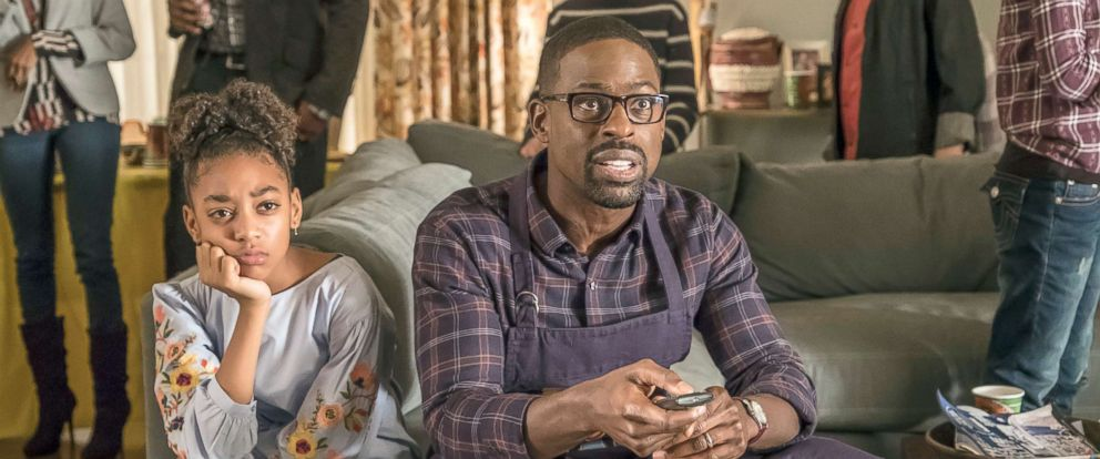 """PHOTO: Eris Baker as Tess Pearson, Sterling K. Brown as Randall Pearson in the TV show, """"This is Us""""."""