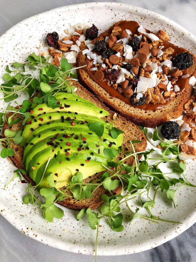 PHOTO: Wellness blogger Rachel Mansfield shares her favorite toast combinations - avocado with greens and eggs and another with nut butter, banana, unsweetened coconut flakes and some crunchy granola on top.