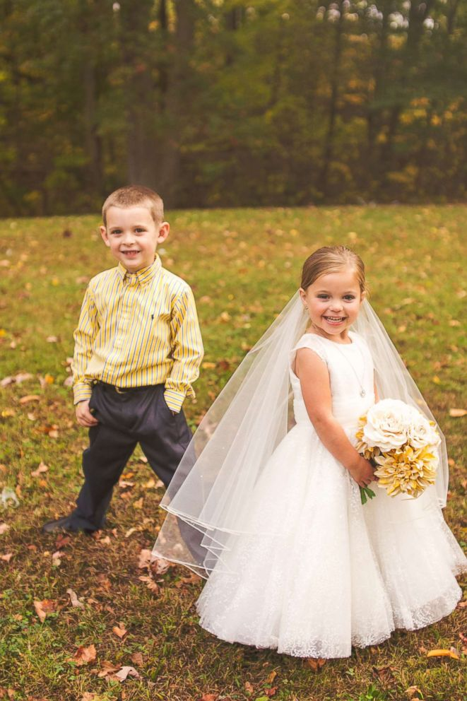 PHOTO: Hunter Laferriere, 6, with his best friend Sophia Chiappalone, 5, during their faux wedding photo shoot on Oct. 23, 2017 inside City Park in Meriden, Conn.