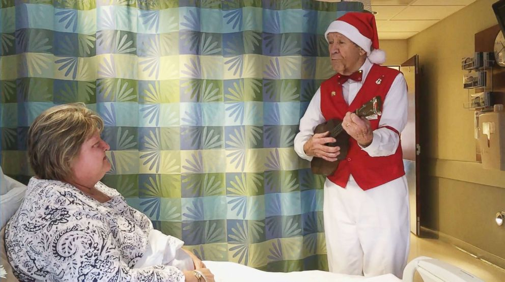 PHOTO: Tom Ruggles, 89, has been singing and playing his ukulele to patients at Emerson Hospital in Concord, Mass. for at least 14 holiday seasons.
