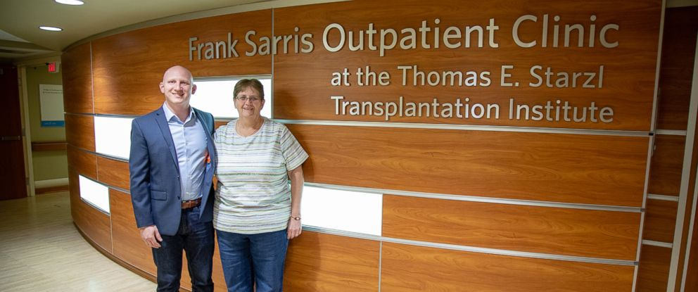PHOTO: A year after their living donor liver transplant, Brian and Diane Muscarella catch up with their surgeon, UPMCs Dr. Abhi Humar.