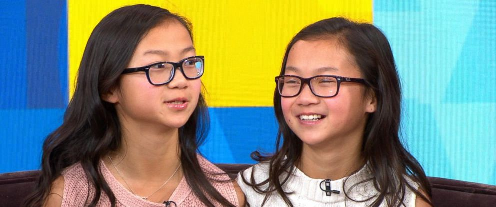 """PHOTO: Gracie Rainsberry, left, and Audrey Doering, right, appear on """"Good Morning America"""" one year after meeting each other for the first time."""