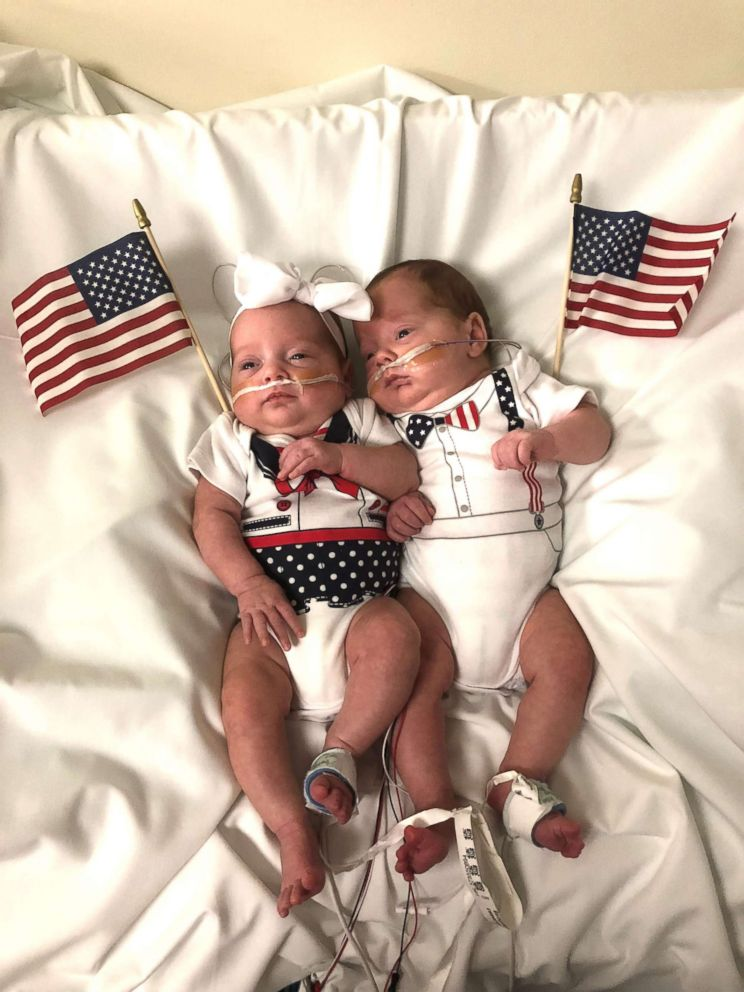 PHOTO: A set of twins celebrate their very first Independence Day at Advocate Childrens Hospital in Downers Grove, Illinois.