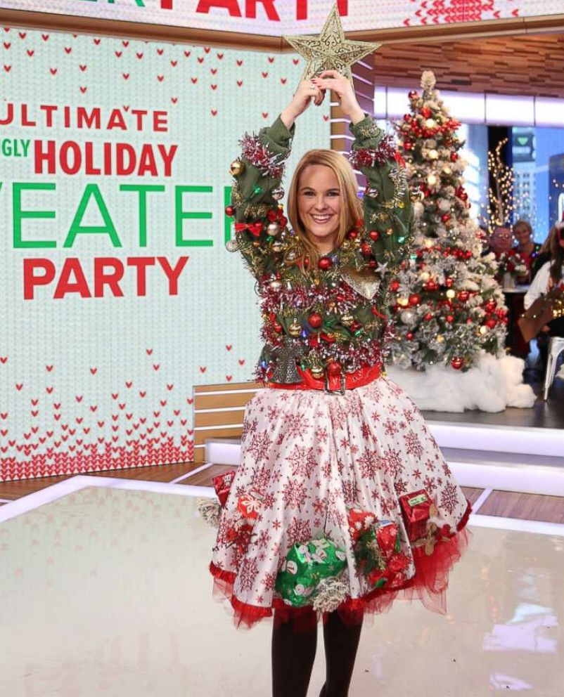 Christmas Tree Ugly Sweater Diy.Gma Ugly Holiday Sweater Challenge Who Wore It Best Abc