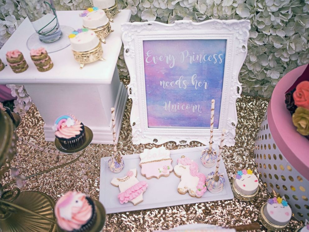 PHOTO: This blush and burgundy baby shower was unicorn-themed.