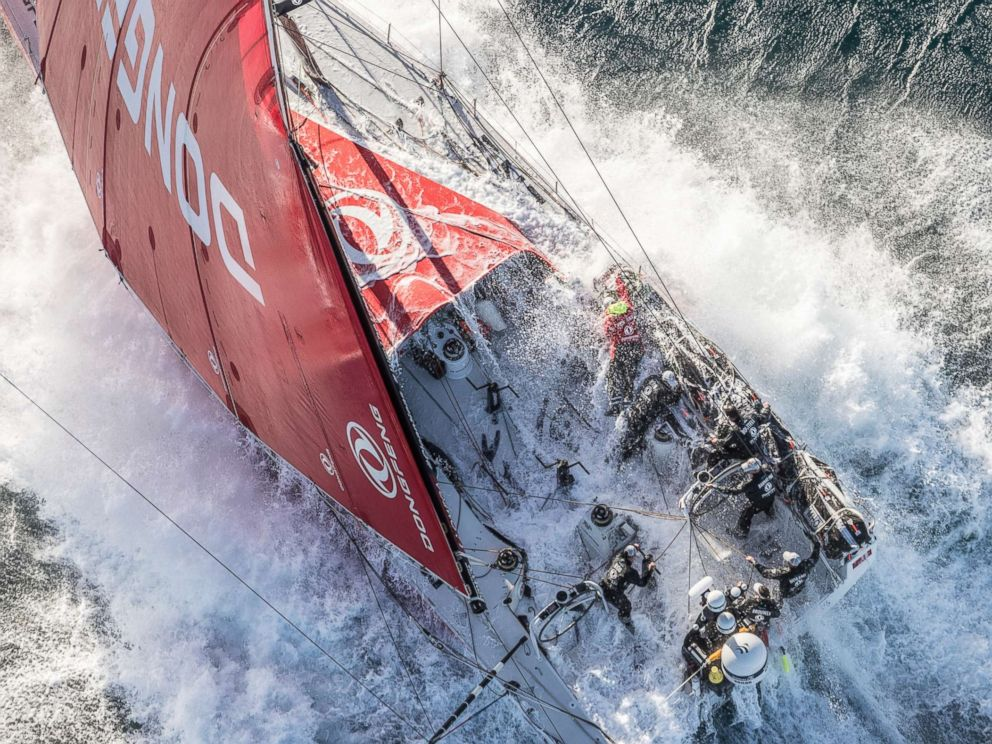 Photo The Dongfeng Race Team Which Includes Female Crew Members Carolijn Brouer Marie Riou