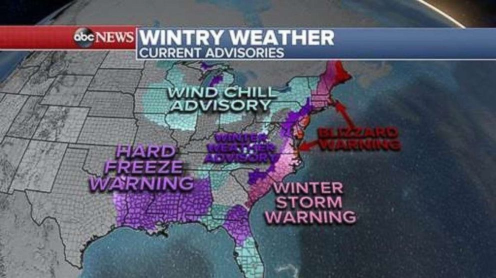 Over 30 states are under winter alerts, Jan. 3, 2018, for the cold and snow as the eastern half of the country remains under a deep freeze from Texas to Florida and all the way up to Maine.