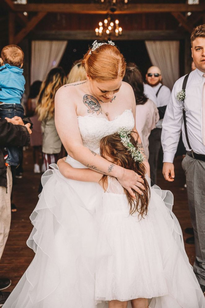 PHOTO: Jenni Gibson dances with her daughter Lexi during her May 12 wedding reception.