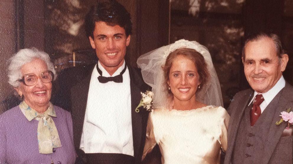 Maria Teresa Moreno and Manuel Moreno pose with Marta and Kevin O'Hara on their wedding day in 1983.