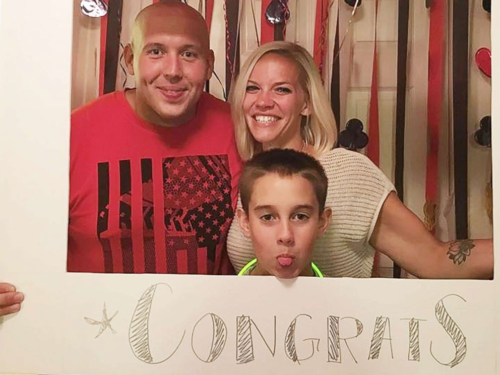 PHOTO: Jaydon Rabatin poses with his dad and stepmom as he wishes them congrats.