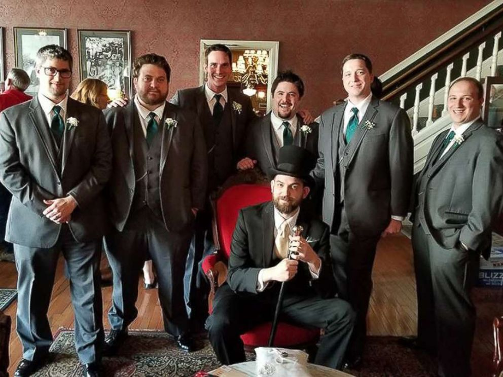 PHOTO: John Conforti poses with his groomsmen, Noah Zorbaugh, Adam Lauver, Matt Hudacs, Derek Martin, Blake Kizer and Christopher Conforti.
