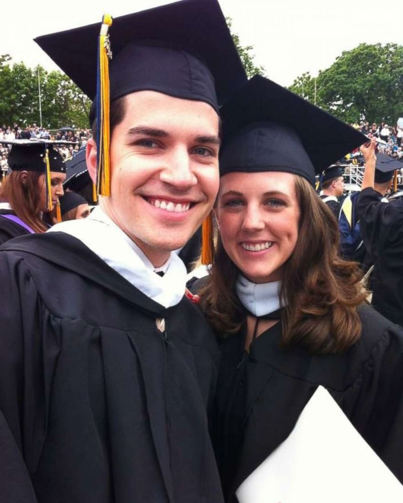 PHOTO: David Grzybowski and Jodi Gilbert are photographed at their graduation from La Salle University in Philadelphia.