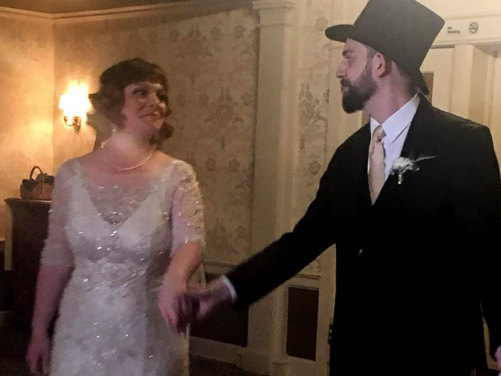 PHOTO: Amanda and John Conforti share a dance together at their Nov. 4, 2017 wedding in Lititz, Penn.